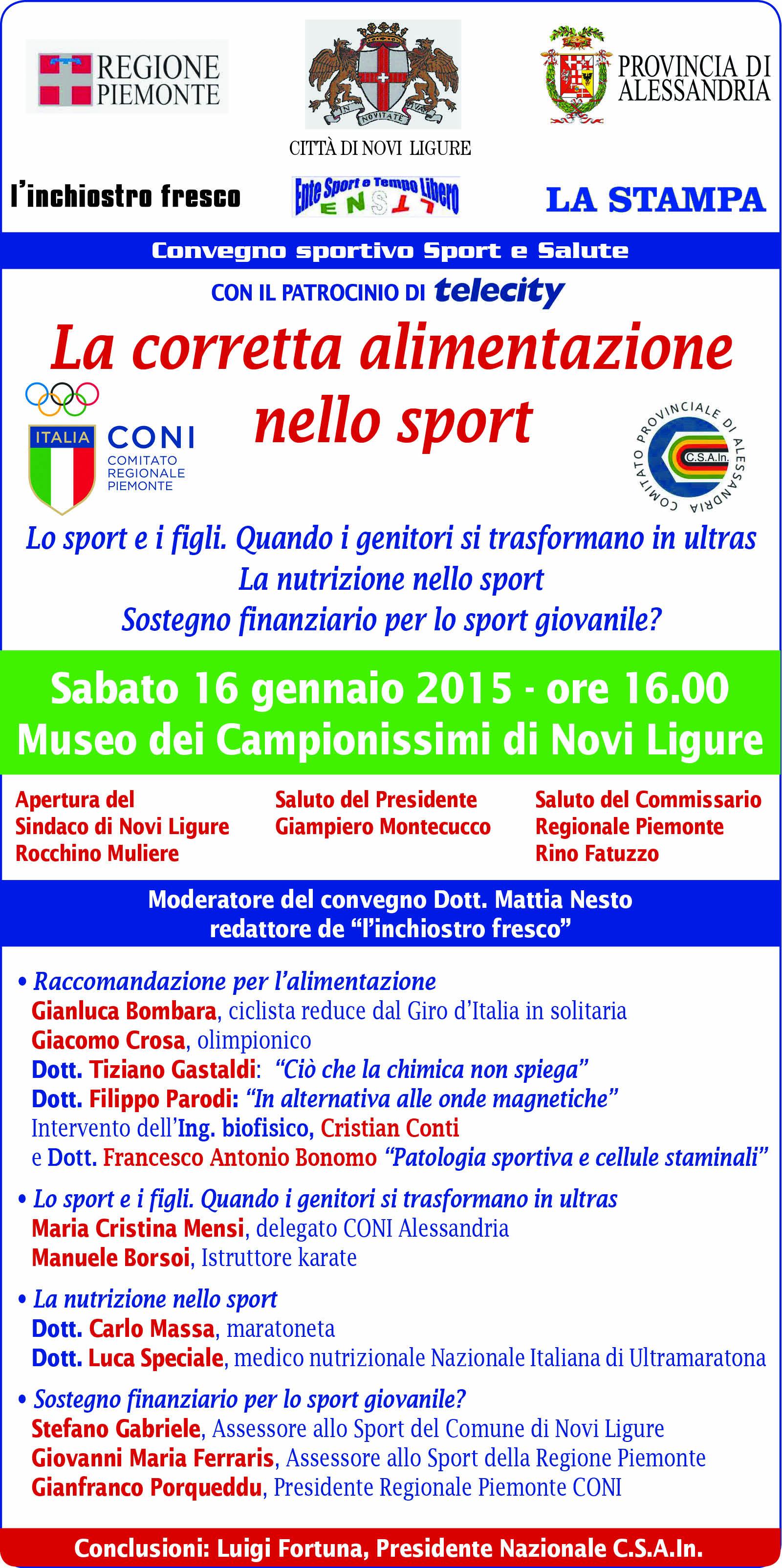 Fra 864 Ore A Novi Ligure Il Convegno Sportivo Sport E Salute Al Museo Dei Campionissimi Alle Ore 16 00 Csainpiemonte